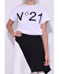 N°21 | Top With Silk Front In White | Lyst
