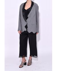 Alexander Wang - Gray Single Breasted Blazer With Lace Trim In Dove Grey - Lyst
