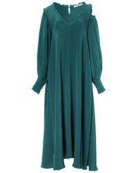 Tibi | Blue Edwardian Silk Open Shoulder Dress In Juniper | Lyst