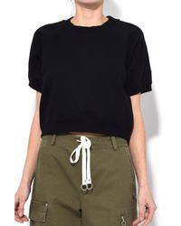 T By Alexander Wang - Fleece Raglan Sweatshirt In Black - Lyst