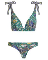 Zimmermann Blue Edie Tie Shoulder Wide Bikini