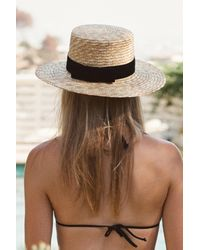 Lack of Color Blue Midnight Velour Hat In Natural Straw