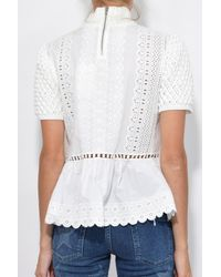 Sea White Short Sleeve Sweater Top In Cream