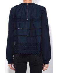 Sea Blue Ruffle Wrap Sweatshirt In Navy