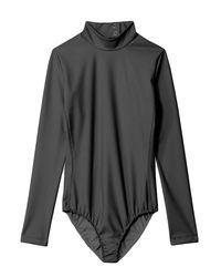 Tibi Gray Scuba Bodysuit Mock Neck