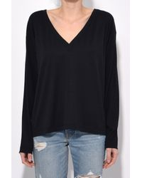 T By Alexander Wang - Superfine Jersey Deep V Tee In Black - Lyst