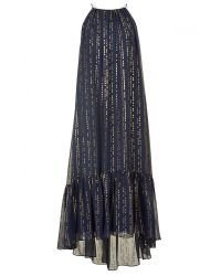 Tibi Blue Lurex Fil Coupe Dress