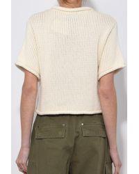 Mansur Gavriel - White Open Stitch Knit Cropped Sweater In Ivory - Lyst