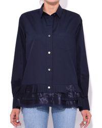 Sacai Blue Cotton Poplin Shirt In Navy