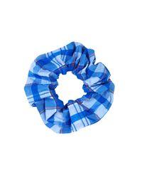 Ganni - Seersucker Scrunchie In Lapis Blue - Lyst
