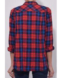 Xirena Red Ashton Plaid Button-front Lounge Top