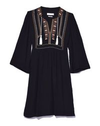 Étoile Isabel Marant Black Clara Embroidered Crepe Mini Dress