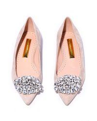 Rupert Sanderson - Pink Jewel Bedfa Suede Flat In Almond - Lyst