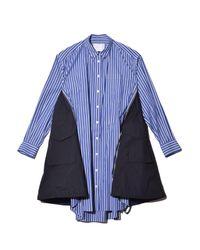 Sacai Blue Cotton Poplin Dress
