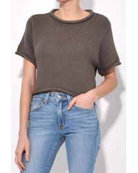 T By Alexander Wang - Brown Open Stitch Knit Cropped Sweater In Sage - Lyst