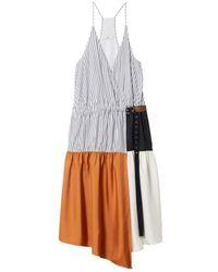 Tibi Orange Camille Collage Wrap Slip Dress
