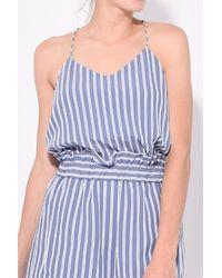 Tibi Blue Stripe Viscose Twill Classic Cami