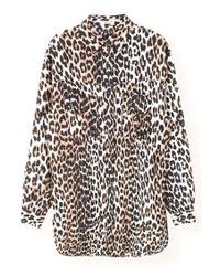 Ganni Multicolor Cedar Top In Leopard