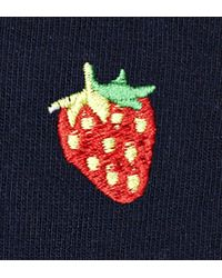 Embroidery Strawberry 1/2 Crew Sock Happy Socks de color Blue