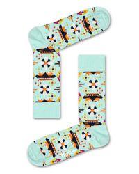 Happy Socks Temple Blossom Sock in het Green