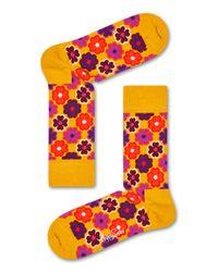 Flower Power Sock Happy Socks en coloris Orange