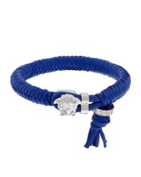Versace - Blue Leather Medusa Clasp Bracelet for Men - Lyst
