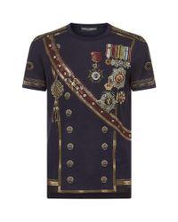 Dolce & Gabbana Blue Medals Print T-shirt for men