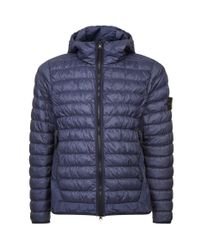 Stone Island Blue Quilted Down Jacket