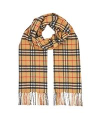 Burberry Yellow Vintage Check Cashmere Scarf