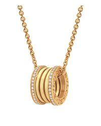 BVLGARI - Metallic Yellow Gold And Diamond B.zero1 Necklace - Lyst