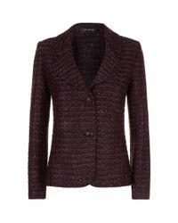 St. John Purple Scallop Knit Sequin Blazer