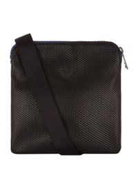 Armani Jeans Black Textured Eagle Messenger Bag for men
