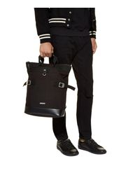 Saint Laurent Black Canvas Covertible Backpack for men
