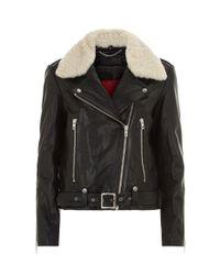 Rag & Bone - Black Mackenzie Shearling Collar Jacket - Lyst