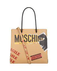 Moschino Brown Recycling Motif Tote Bag