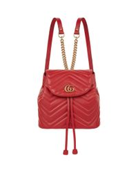 Gucci Red Leather Marmont Matelass Drawstring Backpack