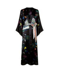Meng - Black Stripe Print Silk Kimono Robe - Lyst