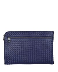 Bottega Veneta Blue Leather Intrecciato Document Case for men
