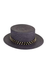 Philip Treacy - Black Studded Straw Boater Hat - Lyst