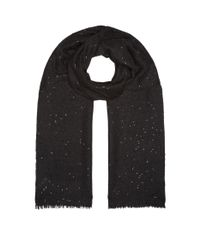 Brunello Cucinelli Gray Sequin Embellished Scarf