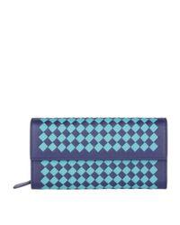 Bottega Veneta Blue Two Tone Intrecciato Wallet