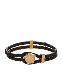 Versace - Black Medusa Head Rope Bracelet for Men - Lyst
