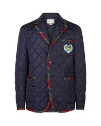 Gucci Blue Appliqu Patch Quilted Jacket for men