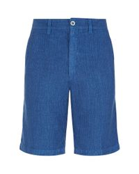 120% Lino | Blue Striped Linen Shorts for Men | Lyst