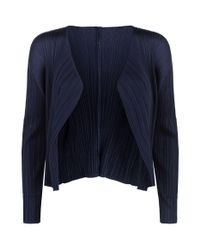 Pleats Please Issey Miyake Blue Cropped Pleated Cardigan