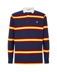 Polo Ralph Lauren Blue Striped Rugby Polo Shirt for men