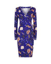 Diane von Furstenberg - Blue Floral Wrap Dress - Lyst