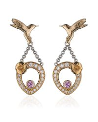 Theo Fennell | Multicolor Pink Sapphire Hummingbird Tryst Earrings | Lyst