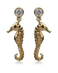 Theo Fennell Metallic Seahorse Drop Earrings