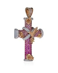 Theo Fennell - Pink Magical Dawn Cross Pendant - Lyst